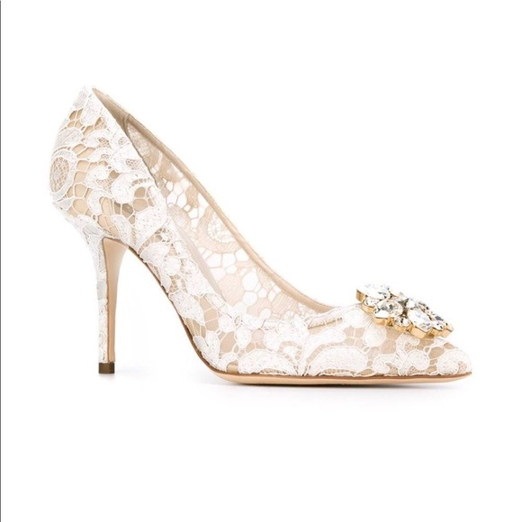 67e6f44548f NEW Dolce   Gabbana White Lace Pumps Size 7!
